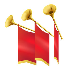 Three musical golden trumpet decorates red flags vector