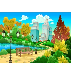 Urban scenery in a natural garden vector image