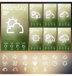 Weather widget ui set vector