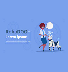 Woman playing with robotic dog cute domestic vector