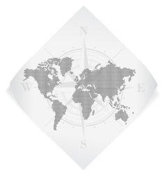 World map over white paper sticker isolated on vector image vector image