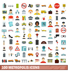 100 metropolis icons set flat style vector