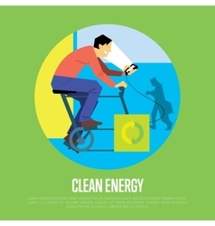 Clean energy concept man with generator vector