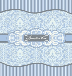 Blue floral damask invitation card vector