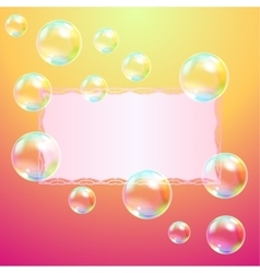 Leaf of paper and soap bubbles vector image