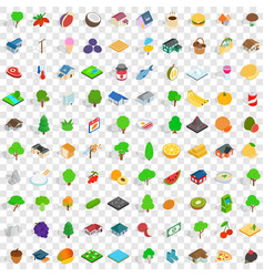 100 garden icons set isometric 3d style vector image