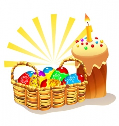 Easter cake and basket vector