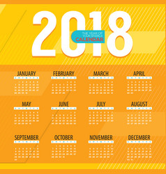 2018 modern colorful graphic printable calendar vector image