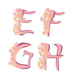 Spring alphabet with flowers letters efgh vector