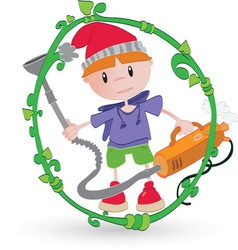 Boy cleaning resize vector