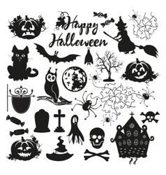 Icon set for halloween on a white background vector