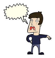 Cartoon complaining man with speech bubble vector