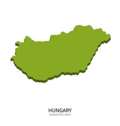 Isometric map of hungary detailed vector