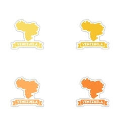 Set of paper stickers on white background map of vector