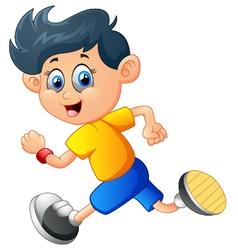 A boy running vector