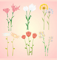 Abstract natural spring flowers collection vector