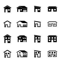 Black house icon set vector