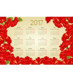 Calendar 2017 with red hibiscus flowers vintage vector
