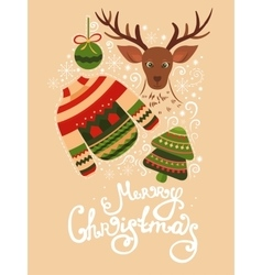Christmas greeting card with lettering vector