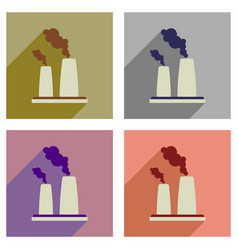 Concept of flat icons with long shadow pipe plant vector