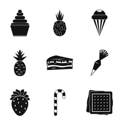 Confectionery product icons set simple style vector