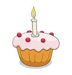 Cupcake with outlines vector image