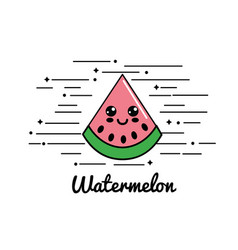 Emblem kawaii happy watermelon icon vector