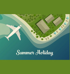 Exotic island with beach and bungalow airplane vector