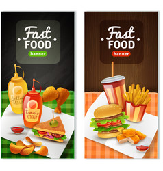 Fast Food 2 Vertical Banners Set vector image vector image