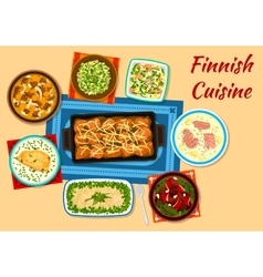 Finnish cuisine fish and meat dinner dishes icon vector image vector image