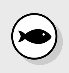 Fish sign flat black icon in vector