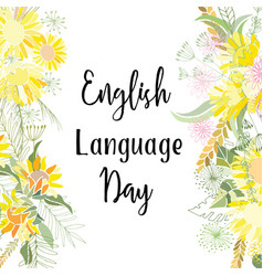 Greeting card of the english language day vector