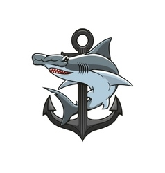 Hammerhead shark and anchor heraldic icon vector