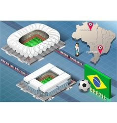 Isometric stadium of manaus and curitiba brazil vector