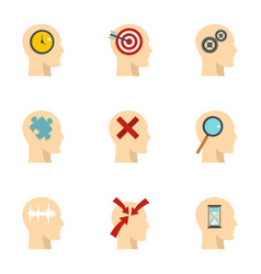 Man head with sign icons set flat style vector