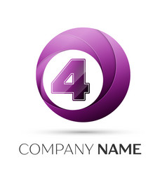 Number four logo symbol in the colorful circle on vector