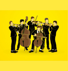 Orchestra player group of musician vector