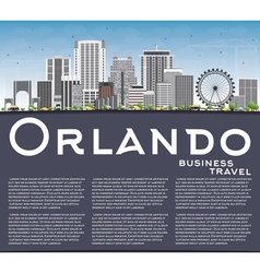 Orlando skyline with gray buildings blue sky vector