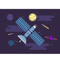 satellite flies in outer space in vector image vector image