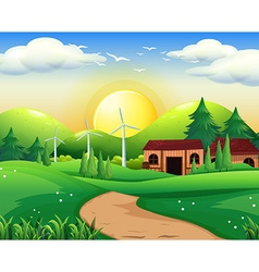 Scene with house and windmills vector