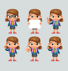 Schoolgirl education excellent student genius vector
