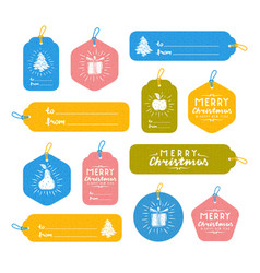 set of merry christmas gift tags vector image