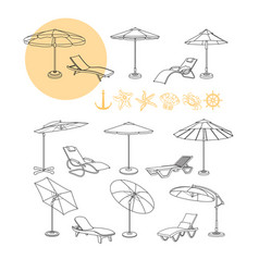 set of umbrella deck chair icons sea vector image