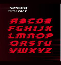 Sport font red color alphabet for carting vector