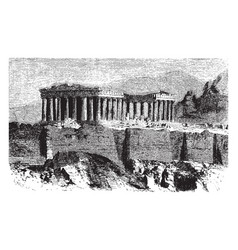 The parthenon is temple the greek goddess athena vector