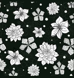 Tropical black and white flowers seamless vector