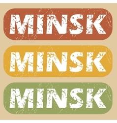 Vintage minsk stamp set vector