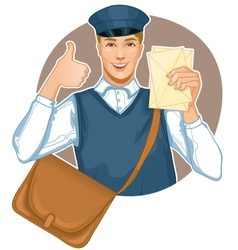 Young postman in a postman uniform with a letter a vector image vector image