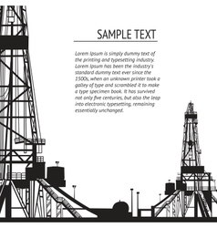 Oil rig banner for your text vector