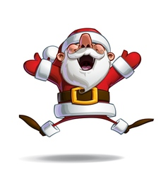 Happy Santa Jumping in ecstasy with Open Hands vector image